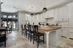 kitchen design with butcher block countertop island and seating